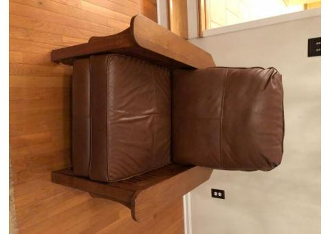 Wood and Leather Reclining Chair
